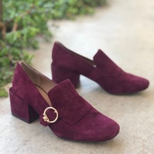 Tory Burch Tess 50mm Maroon Suede Leather Loafers